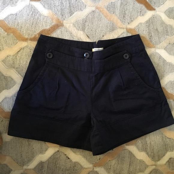 Pants - High waist navy blue flap shorts